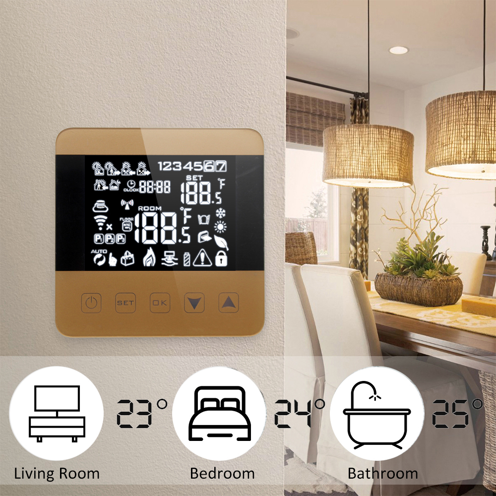 Smart WiFi Thermostat for Water/Gas Boiler Heating Floor Echo Alexa Voice Control Programmable Room Temperature Controller valve radiator linkage controller weekly programmable room thermostat wifi app for gas boiler underfloor heating