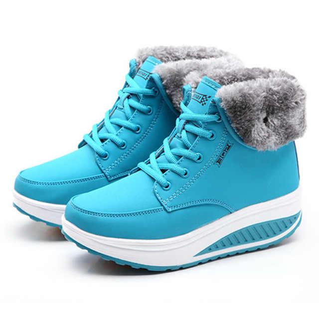 2019 Hot Winter Snowboots Plus Fluwelen Vrouwen Schoenen Platform Wig Winter Laarzen Vrouwen Enkellaars Katoen gevoerde Schoenen botas Mujer
