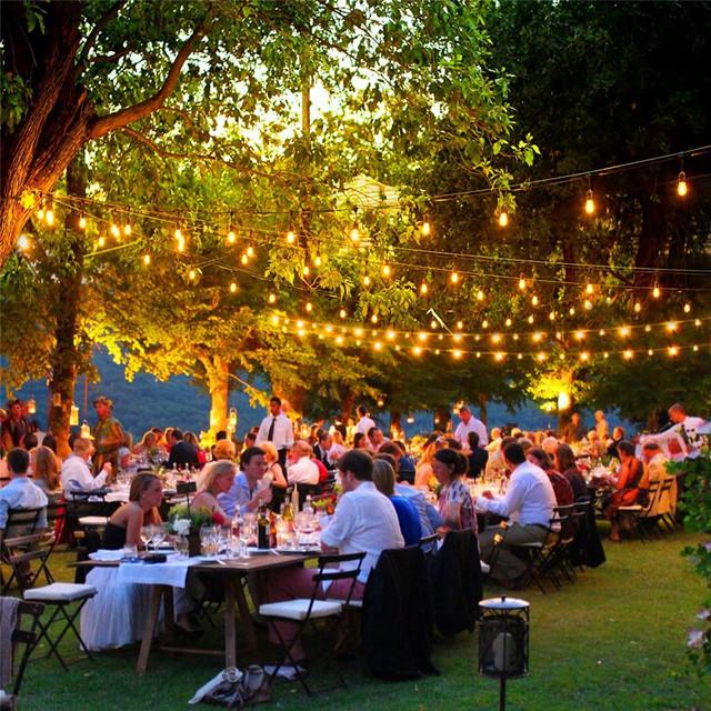 10X10 M E27 Luces de la Secuencia Del Partido de Cena Del Patio Jardín Bar Dancing Luz de la secuencia con 10 Led Bombillas de Filamento Celebra la Noche!