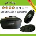 Vr shinecon plástico óculos 3d google papelão caixa de óculos 3.0 para muose telefone + bluetooth sem fio gamepad controlador remoto