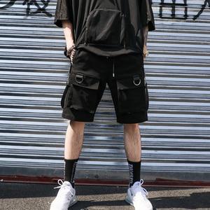 Image 4 - Men casual multi pockets ribbons hip hop punk cargo shorts streetwear mens hiphop skateboard short pants bermuda masculina