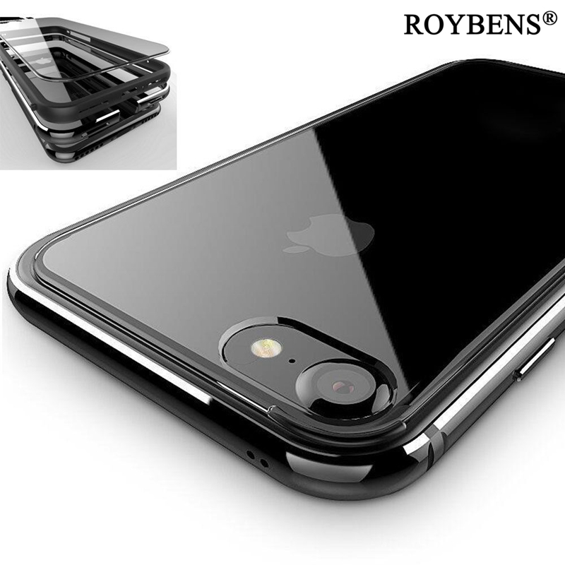 Roybens For iPhone 7 Case Luxury Silicone Metal Hybrid Edge + Transparent Clear Acrylic Hard PC Case Cover For iPhone 7 8 Plus