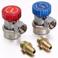 90 Degree Automotive R134A HVAC Adjustable Quick Couplers 1 4 SAE High Side Red Low Side