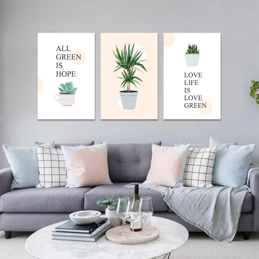 Unframed Canvas Print Cartoon Painting Saying Plant Potted Plants Aloe Print Wall Picture For Living Room Wall Art Decoration