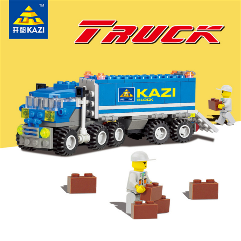KAZI Bricks Blocks Truck Educational Building Blocks DIY Kids Toys Gift Block Compatible with lego banbao 8313 290pcs fire fighting ladder truck building block sets educational diy bricks toys christmas kids gift