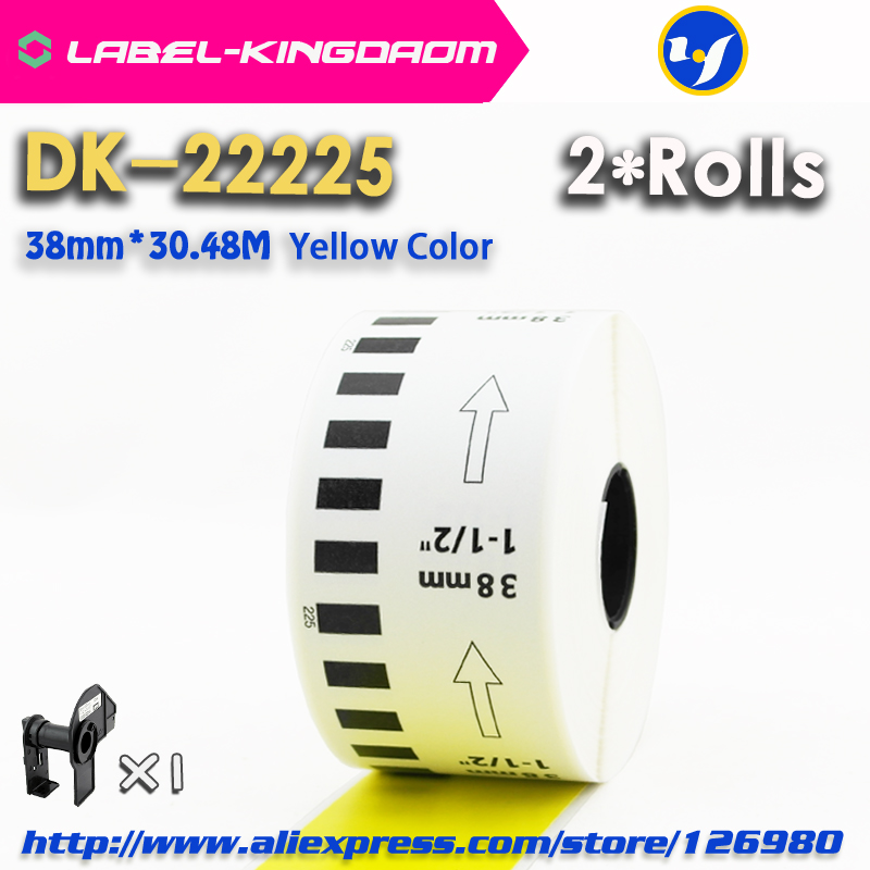 2 Refill Rolls Yellow Color DK-22225 Label 38mm*30.48M Continuous Label For Brother Printer DK-2225 DK22225