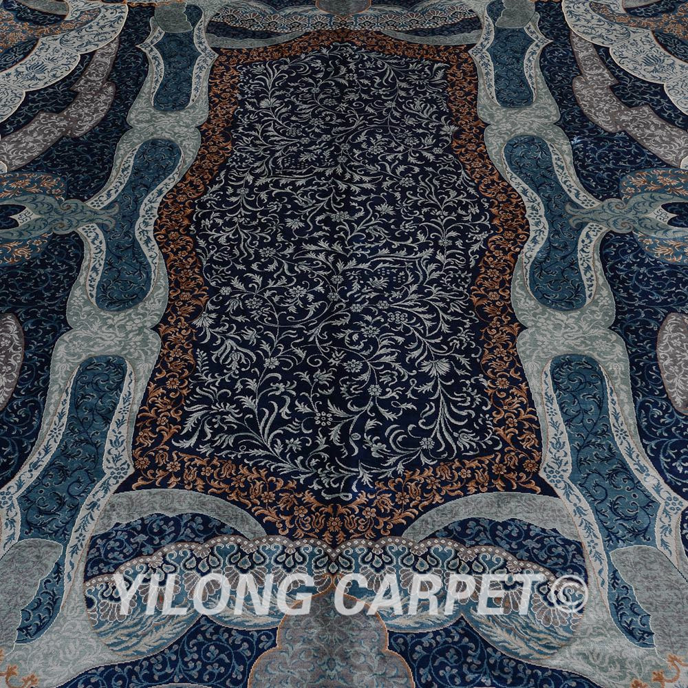 Yilong 6'x9 Turki Pola Rajutan Karpet Persia Sutra Unik Pola Biru - Tekstil rumah - Foto 4