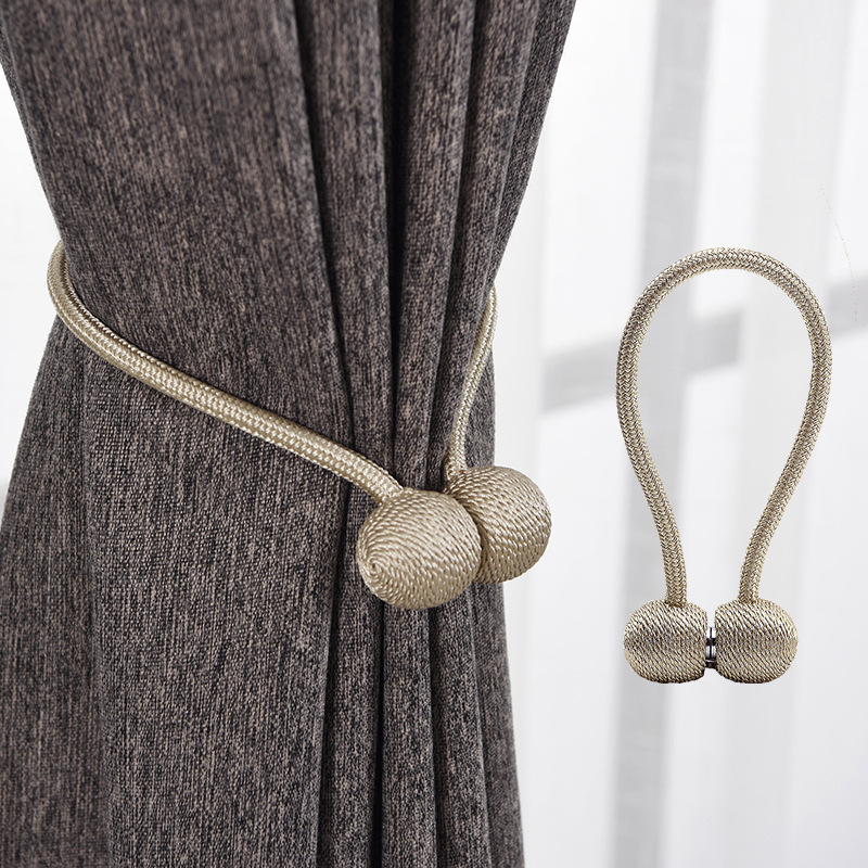 2//4PCS Magnetic Curtain Hooks Rope Buckle Tie Backs Holdbacks Home Decor Garden