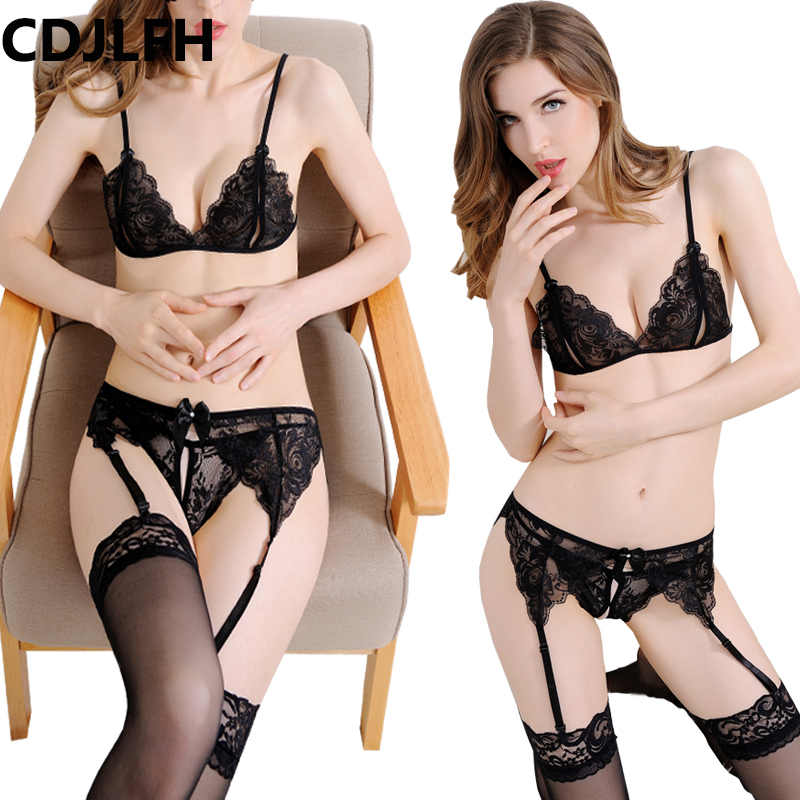 CDJLFH 2018 Women Hot Sexy Transparent Bra + Brief + Silk Socks + Sling Lingerie Suit Women Lace Bra Set Open Crotch Sex Set