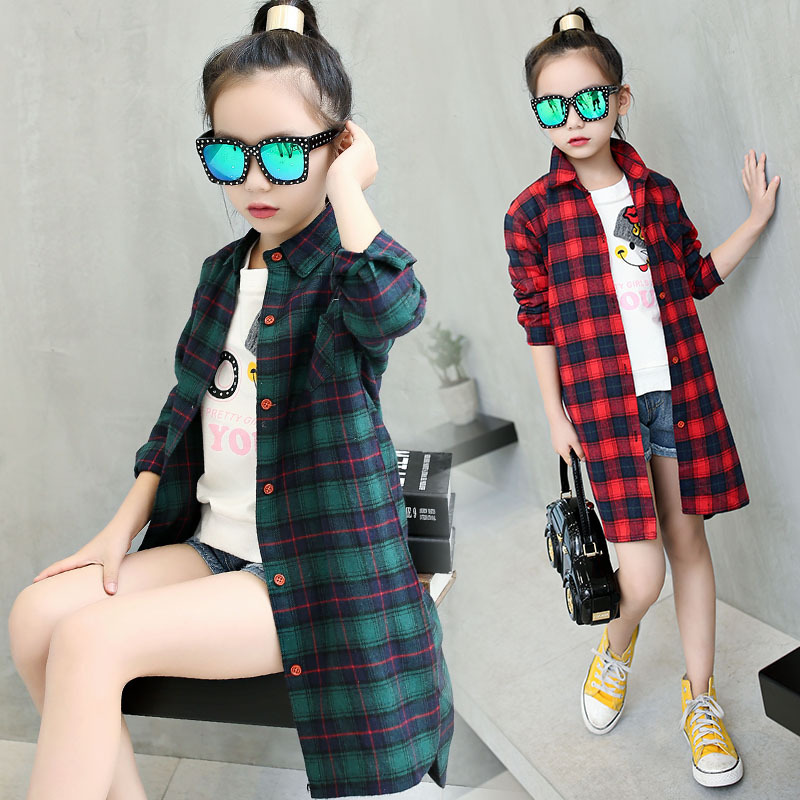 Girls Plaid Shirt 2018 autumn Girls Clothes Teenage School Girl Shirts for Girls Blouse Children Plaid Blouse 4-14T Kids Clothes lts25 np