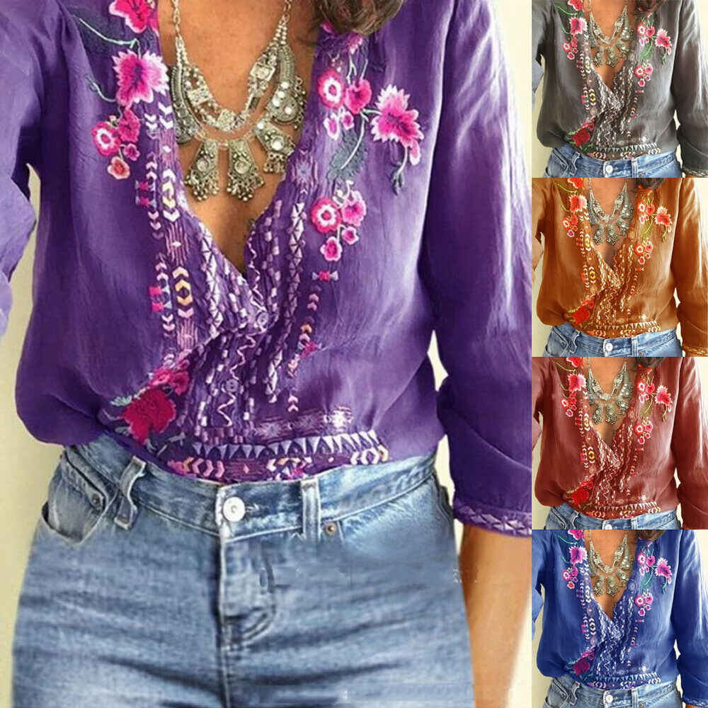 חדש מכירה לוהטת גדול גודל Boho נשים פרחוני רקמת קיץ למעלה חולצות ארוך שרוול חוף Loose חולצה חולצות חולצות בגדים