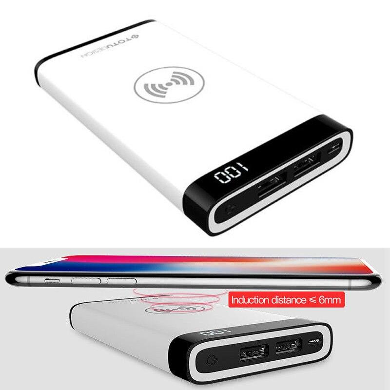 8000 mAh batterie Mobile Qi sans fil charge 2 USB LCD LED chargeur de batterie Portable pour Samsung Galaxy Note 9 8/S9 S8 S7 Plus