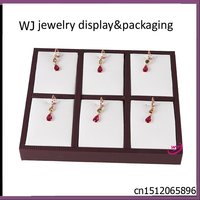Wholesale 2 PCS/lot Jewellery Display Stand Case Pendant Necklace Display Tray Holder in White & Brown Faux leather With 6 Slots