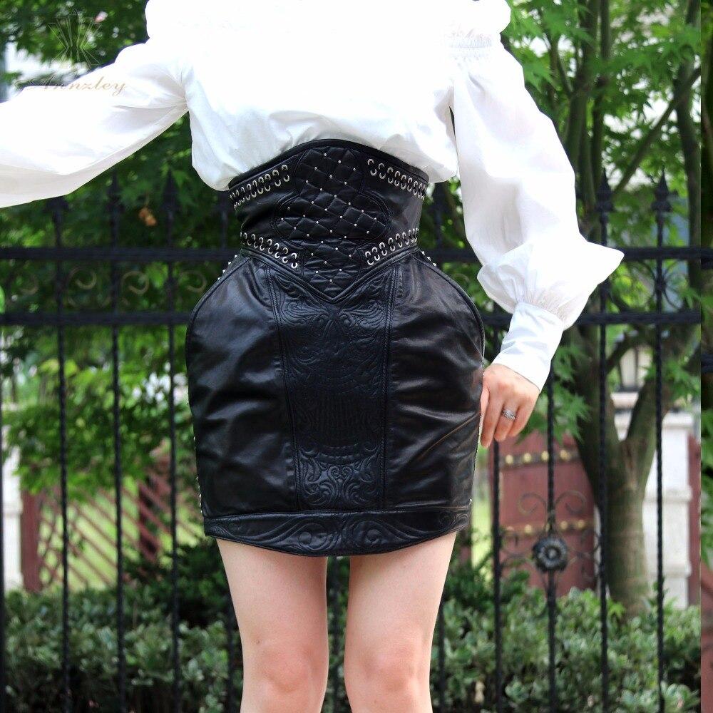 Noir taille haute Riviet au dessus du genou jupe en cuir véritable Mini jupe 2018-in Jupes from Mode Femme et Accessoires    3