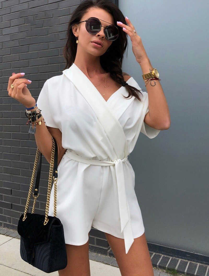5758d2dac56 ... 2019 Summer New Fashion Short Sleeved Belt Women Rompers Solid Color Sexy  V-Neck Chiffon ...