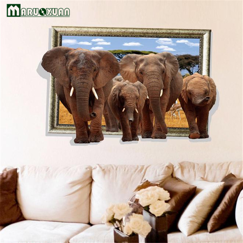 Maruoxuan 2017 New African Savannah Elephants Animal Removable 3D Dual Elephant Wall Sticker Kids Baby Room Art Mural Decal african elephant