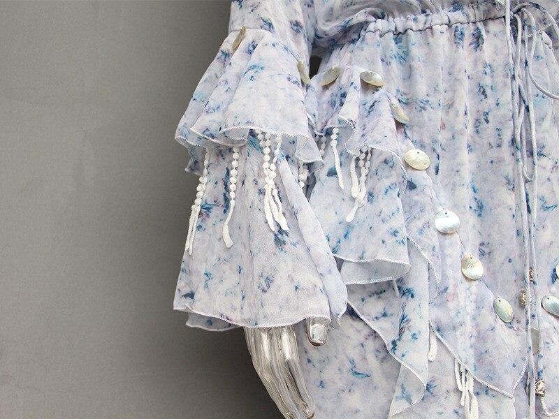 High Fashion Fairy Mosaic Long Dress Spring V-neck Sequined Ruffle Dress Casual Flower Floral Chiffon Maxi Dress (3)