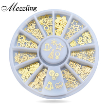 New 3d Gold Metal Nail Art Sticker Decoration Wheel Christmas Mix Designs Tiny Slice DIY Manicure Nail Accessories