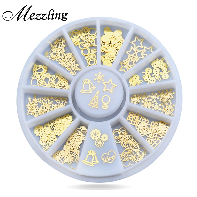 New 3d Gold Metal Nail Art Sticker Decoration Wheel Christmas Mix Designs Tiny Slice DIY Manicure Nail Accessories diy christmas pattern decoration nail sticker multicolored 2pcs