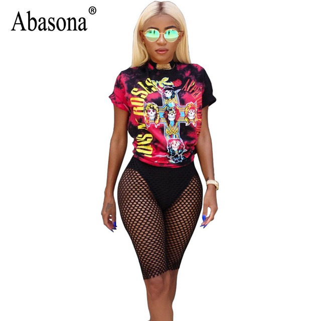 d4bbed43c2a Abasona Women Playsuits Sexy Mesh Rompers Womens Jumpsuits Summer Two Piece  Playsuit Guns N Roses Printed Female Club Overalls