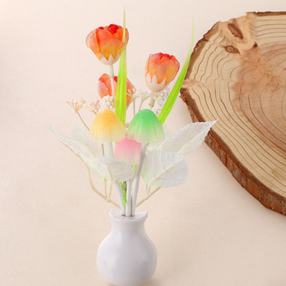 New Arrival Romantic Tulip Flower Mushroom LED Night Light Bedside Lamp Decor CN