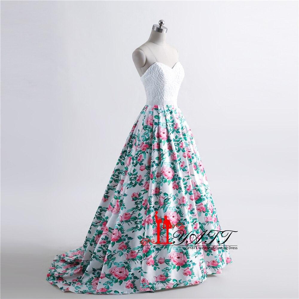 Vintage Blumendruck Abendkleider Schatz A Line Abendkleid Vestido de ...