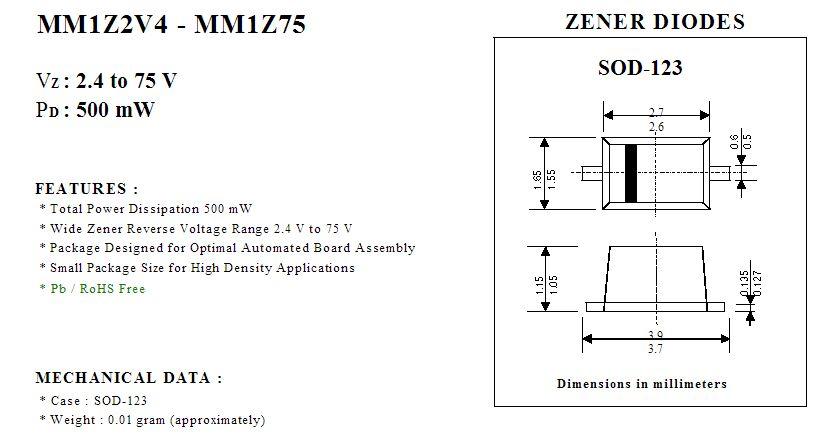Zener; 0,5W; 22V; SMD; Rolle 25 st Diode Band; SOD123