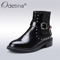 Odetina 2018 New Fashion Women Genuine Leather Buckle Strap Ankle Boots Patent Leather Square Low Heel
