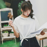 Summer Simple Women White T-shirts Cotton O-Neck Lovely Shirt Tops Bow Tie Top Tail Short Type All-match Letter Printed For Girl
