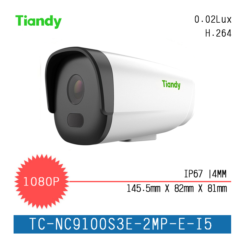 Tiandy Box Camera Fixed 2MP Fixed IR Dome Series IP Camera 1080P H.264 Outdoor CCTV Camera Support Onvif and English Version ds 2cd4026fwd a english version 2mp ultra low light smart cctv ip camera poe auto back focus without lens h 264