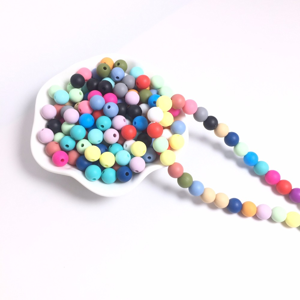 Hot Sale 12mm Round Silicone Beads For Necklace 500 pieces lot Chewable Toy for teeth Silicone