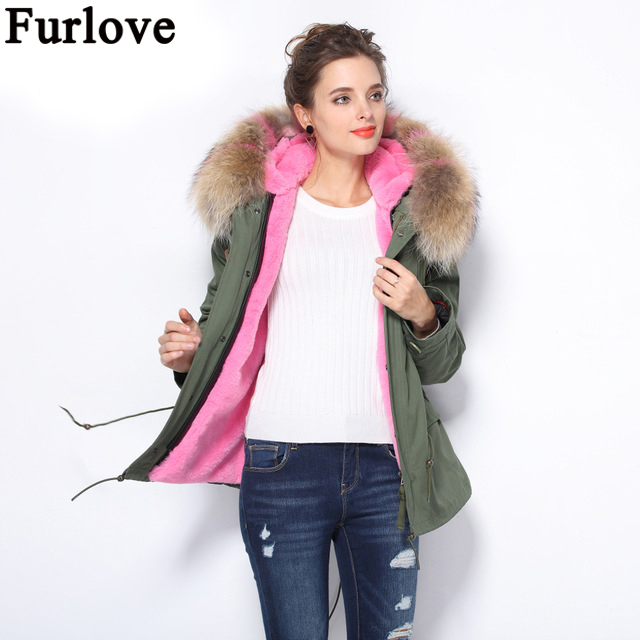 Furlove 2017 newest short winter jacket coat women parka natural large Raccoon Dog Fur Collar hooded Thick Warm faux Fur Liner faux rabbit fur brown mr short jacket sleeveless with big raccoon collar fall coat