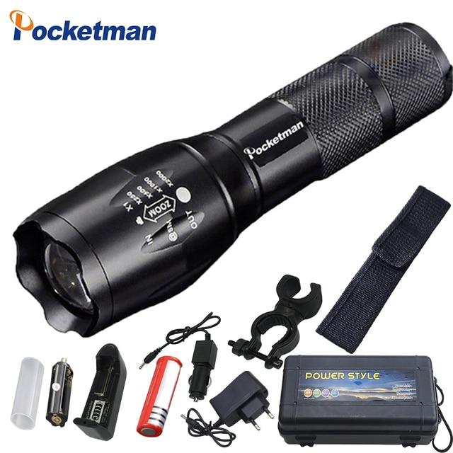 Lampe à main XM L T6 L2 6000 Lumens, zoom, lumière torche par 1 x lampe de poche LED Rechargeable ou 3 x AAA, z50