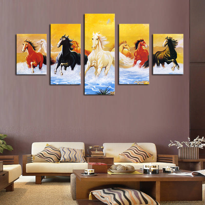 Unframed 5 sets Colorful Running Horse Print Modern Canvas ...