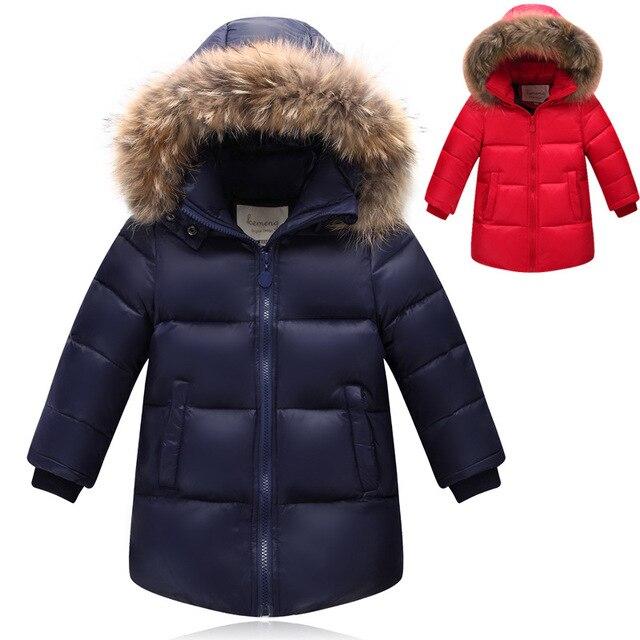 90% de Pato Blanco Abajo de la capa para el invierno de la marca del muchacho del bebé Niños pato grueso Warm jacket Coat con piel de Niños Ropa Exterior para-30 grados