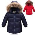 90% de Pato Branco Para Baixo casaco para o inverno da marca do menino do bebê Crianças grosso Casaco de pato Quente jaqueta com pele Crianças Outerwears para-30 graus