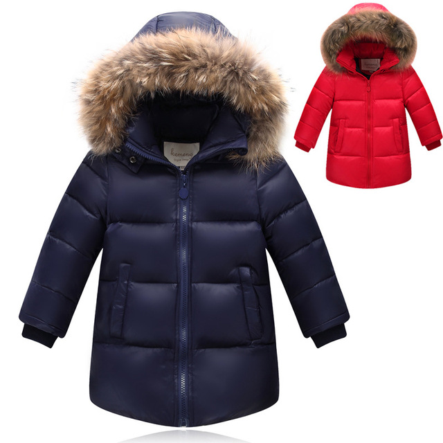 Boy's 90% White Duck Down coat for winter brand baby Kids thick duck Warm Coat jacket with fur Children Outerwears for -30degree