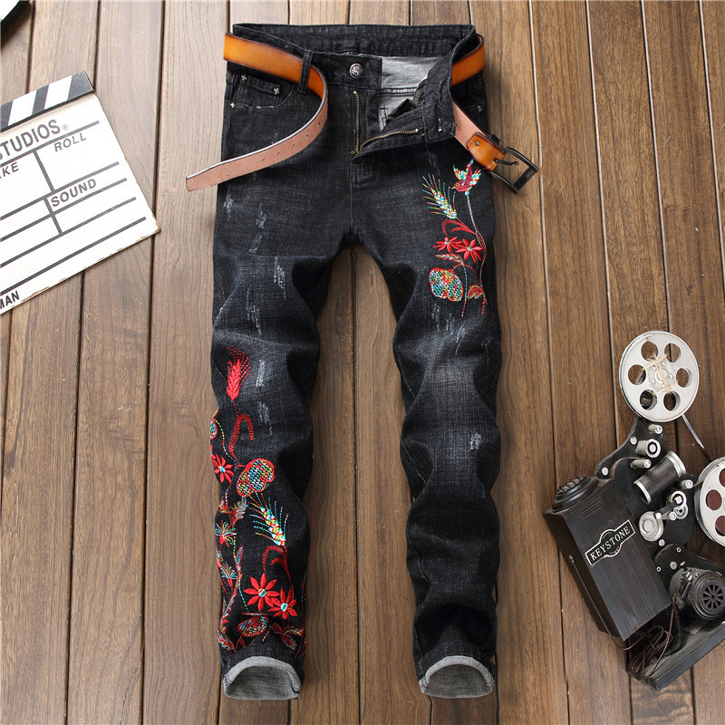 Newsosoo 2018 Casual Men Embroidery Straight Jeans Brand Flower Pattern Personality Male Fashion Denim Jeans Pants Black (3)