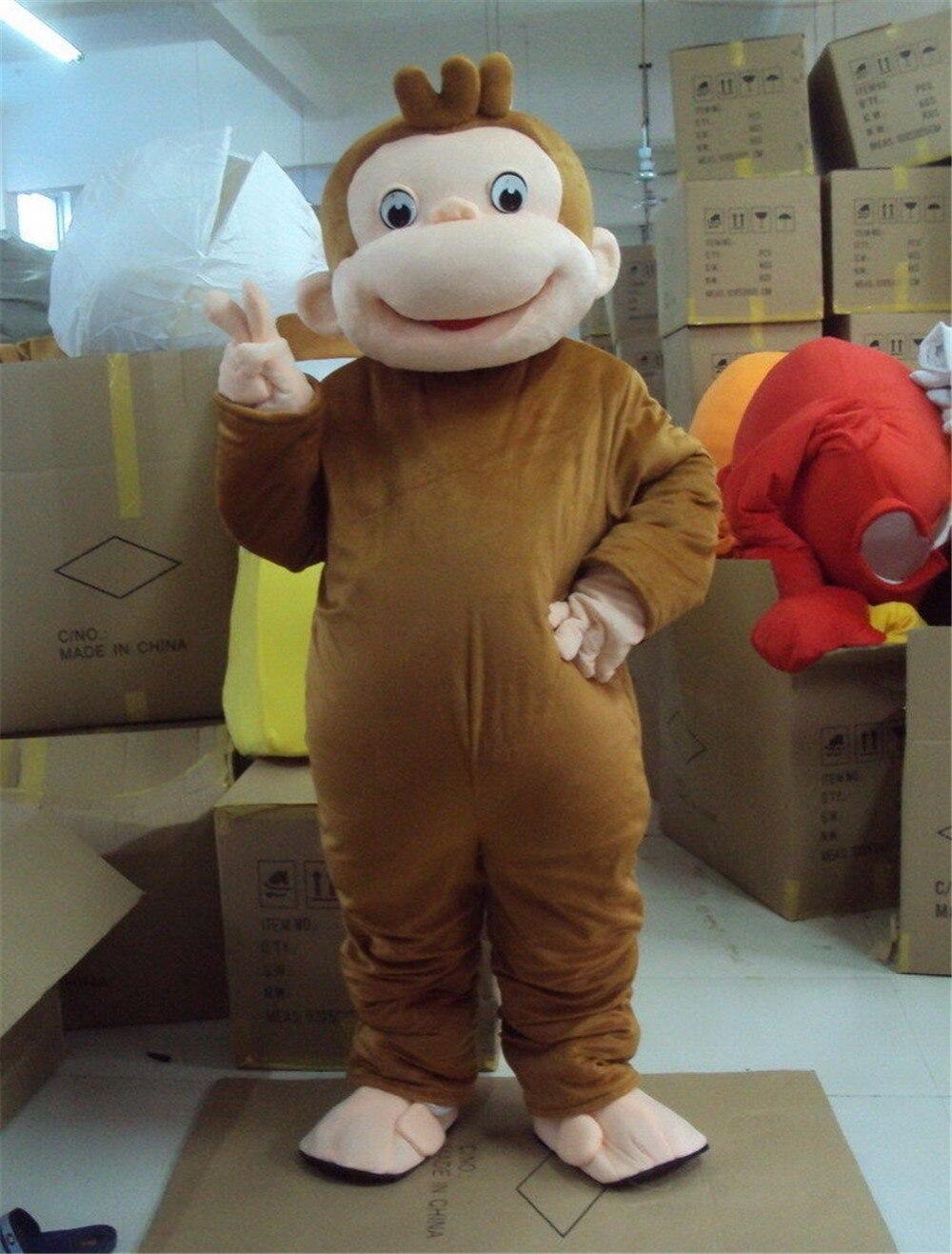 Curious George Costume Della Mascotte della Scimmia Festa di Compleanno Personaggio Dei Cartoni Animati Costumi di Prestazione del Vestito Vestito Per Adulti