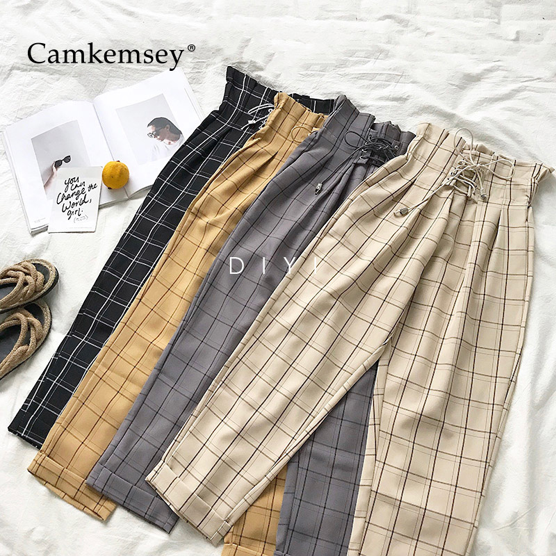 CamKemsey Fashion Lace Up Vintage Plaid High Waist Loose Ankle Length Pants Women 2019 New Japanese Harajuku Casual Harem Pants
