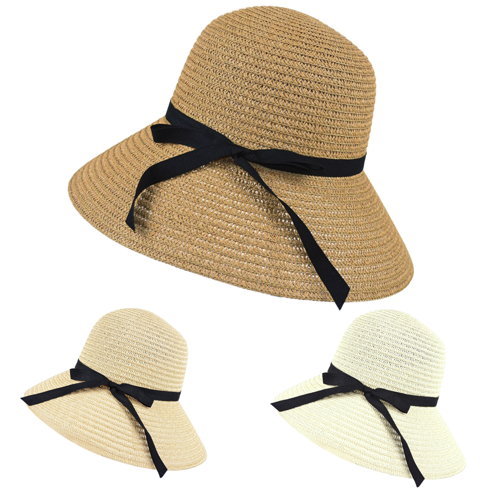 New Women Wide Brim Summer Beach Sun Hat Straw Floppy Elegant Bohemia Cap Paper Straw Hat Female Fashion Casual Elegant Sunshade