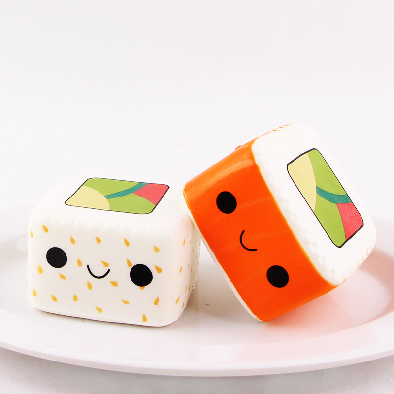 New Kawaii Cartoon Face Pendant Stretchy Bread Squishy Cute Yummy Sushi Slow Rising Cake Kids Fun Toy Gift Phone Straps Mobile Phone Straps