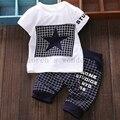 Estilo del verano bebé juegos de ropa de algodón t-shirt + pants estrella impreso de manga corta trajes del deporte