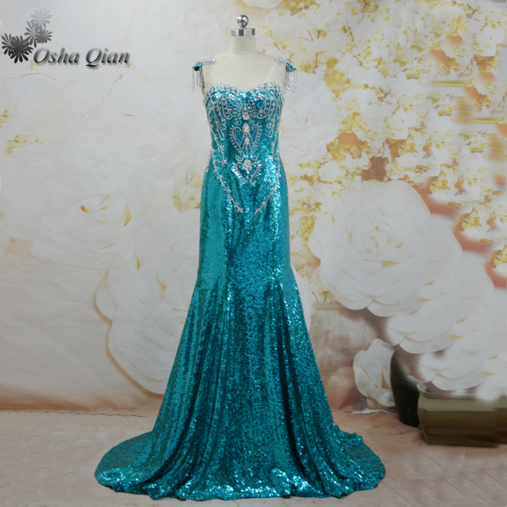Bling Green Luxury Prom Dresses With Rhinestones Crystals Sequin ...