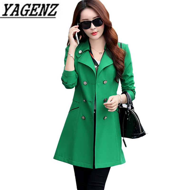 Hot 2018 Double breasted Female Windbreaker Coat Spring Autumn Korea Candy colors Slim Outerwear Casual Solid Women Trench Coats