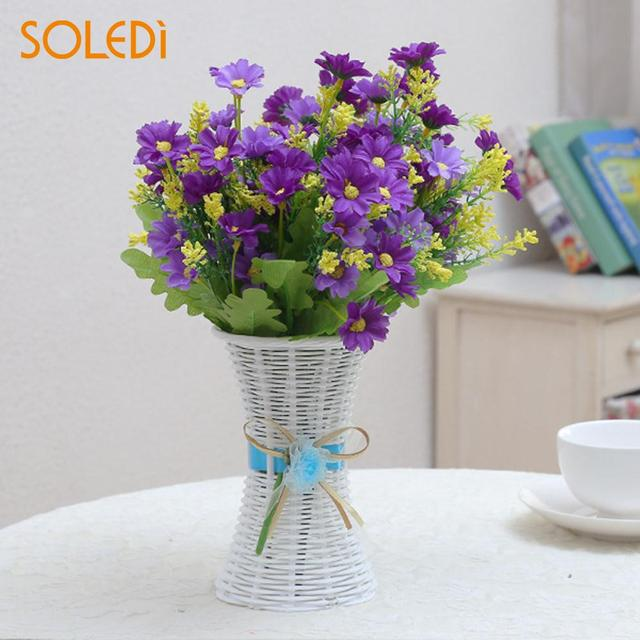 Ribbon Fashion Flower Vase Candy Plastic Storage Basket Artificial