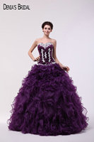 Real Photos Strapless Neckline Ball Gown Purple Evening Dresses with Beaded Appliques Sleeveless Floor Length Long Prom Gowns