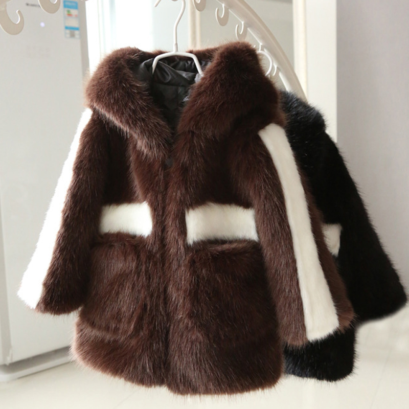 2018 Autumn Winter jacket for Children's Boys Girls Waistcoat black Imitation Fur Kids Faux Fur Coat warm Thick Hooded Clothes children jacket print flower thick warm faux fur coat kids pretty winter hooded button long jacket for girls autumn girls coat
