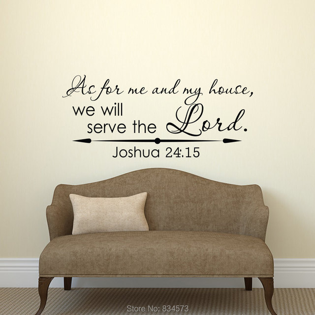 Joshua 24:15 As For Me And My House Wall Art Stickers Decal Home DIY Decoration Wall Mural Removable Bedroom Decor Wall Stickers