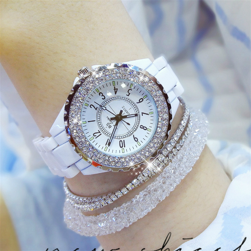 Hot Sale Women Full Diamond Best Womens Watch Brand Fashion Ceramic Strap Watch Ladies Business Bracelet Quartz Watches Gift ...